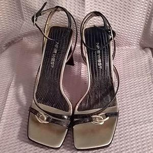 Nine West Gold & Black Xingo reptile print heels